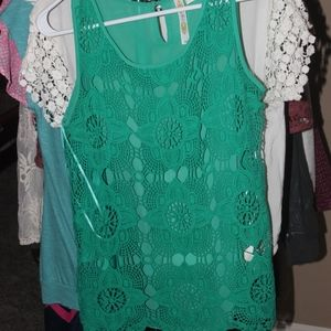 Adiva Green Tank with Lace
